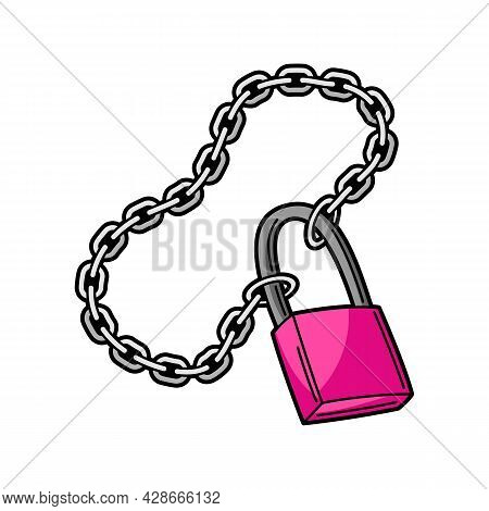 Illustration Of Chain With Lock. Teenage Creative Accessory. Youth Subculture Symbol In Cartoon Styl