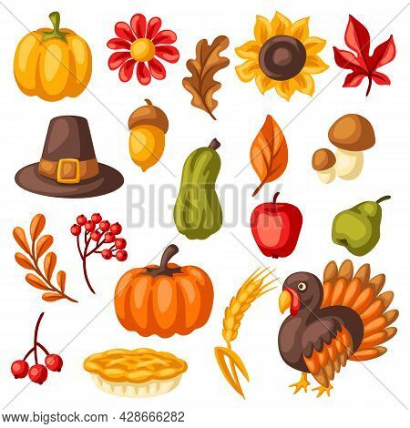 Set Of Happy Thanksgiving Day Items. Holiday Objects And Icons.