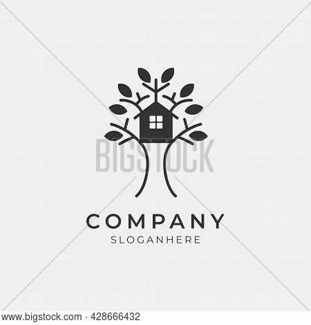 Vector Illustration Of Modern Tree House Logo Perfect For Modern Company