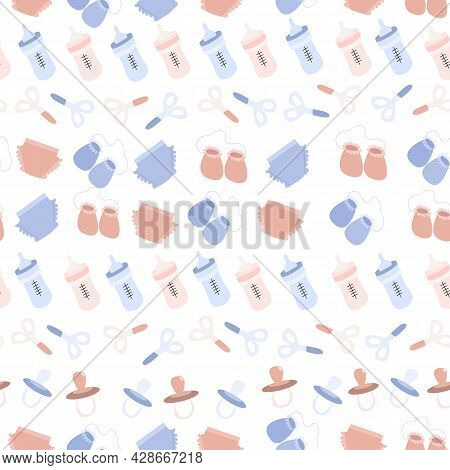 Child's Pattern. Vector Illustration Of A Set For Children In Pink And Blue On A White Background. S