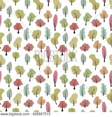 Cute Forest Seamless Pattern With Colorful Autumn Trees. Simple Cartoon Print For Wallpaper, Bedding