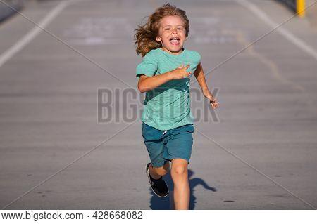 Cheerful Boy Running To School. Kids Run Race.