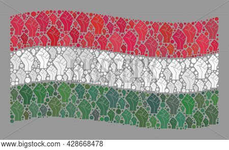 Mosaic Waving Hungary Flag Designed With Force Icons. Solidarity Hand Vector Collage Waving Hungary