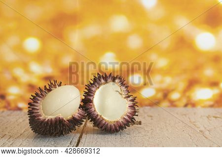 Local Fruits Called Pulasan That Has Been Opened. Pulasan Is A Tropical Fruit From Soapberry Family,
