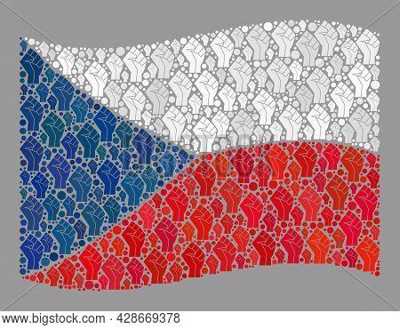 Mosaic Waving Czech Flag Designed With Fighter Palm Elements. Strike Fist Vector Mosaic Waving Czech