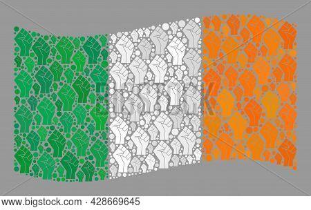 Mosaic Waving Ireland Flag Constructed Of Riot Hand Icons. Revolution Hand Vector Mosaic Waving Irel