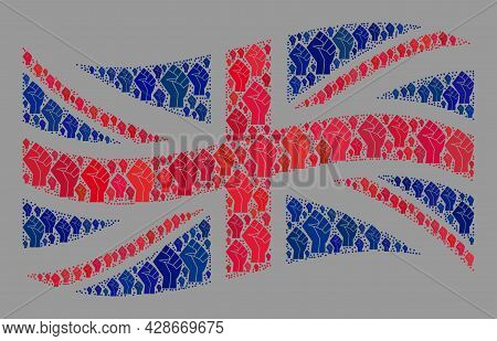Mosaic Waving Great Britain Flag Designed Of Riot Hand Items. Strike Fist Vector Collage Windy Great