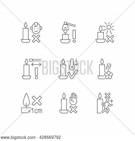 Candle Safety Precautions Linear Manual Label Icons Set. Keep Kids Away. Customizable Thin Line Cont