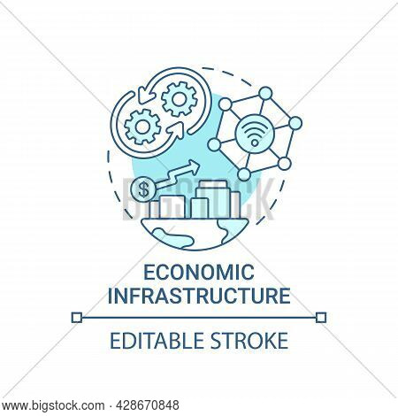 Economic Infrastructure Blue Concept Icon. Finance Management Abstract Idea Thin Line Illustration.