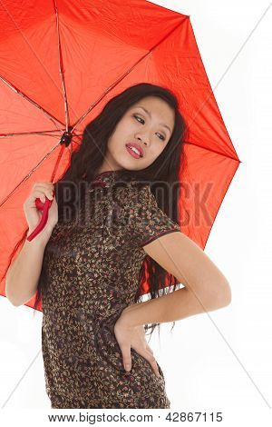 Asian Woman Red Umbrella