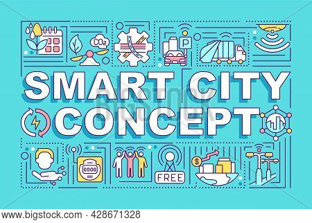 Smart City Word Concepts Banner. Intelligent City Control System. Infographics With Linear Icons On