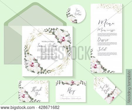 Vector Floral Frame For A Postcard. White And Royal Orchids, Eucalyptus, Green Plants And Leaves, Go