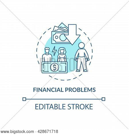Budgeting Problem Concept Icon. Financial Difficulties. Empty Pockets. Low Income. Lack Of Money Abs