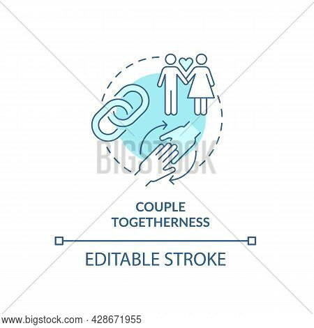 Couple Togetherness In All Life Aspects Concept Icon. Strong Chain Link Couple. Healthy Mature Relat