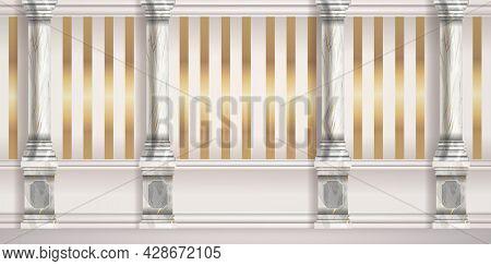 Marble Roman Pillar Background, Vector Palace Wall, Golden Stripe Tapestry, Classic Column Illustrat