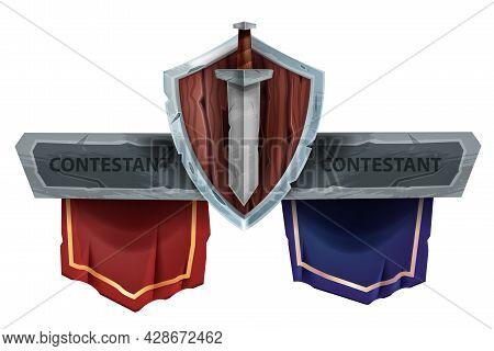 Versus Battle Game Vector Banner, Vs Team Fight Esport Tournament Sign, Wooden Shield, Sword On Whit
