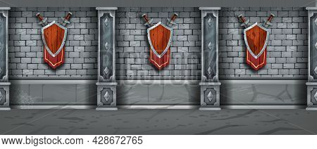 Medieval Stone Wall Seamless Texture, Brick Castle Dungeon Background, Wooden Shield, Sword, Flag. O
