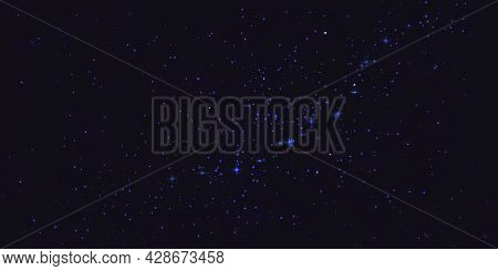Astrology Horizontal Star Universe Background. Starry Night Sky, Blue Shining Space With Nebula. Mil