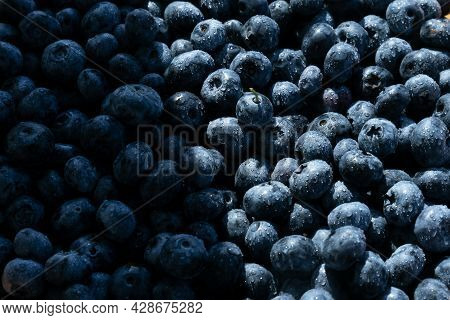 Fresh Natural Blueberry Background. Water Drops On Ripe Sweet Blueberries.macro Texture Of Blueberri