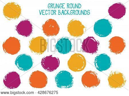 Vector Grunge Circles. Modern Stamp Texture Circle Scratched Label Backgrounds. Circular Tag, Ink Lo