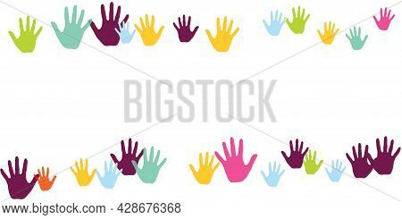 Abstract Children Handprints Art Therapy Concept Background Design.