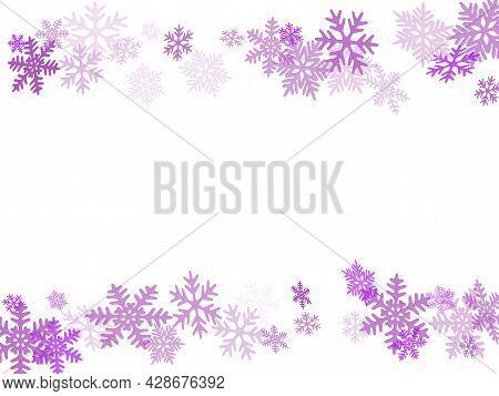 Winter Snowflakes Border Simple Vector Background. Macro Snowflakes Flying Border Illustration, Holi