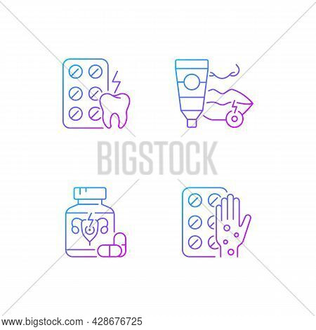 Disease Treatment Gradient Linear Vector Icons Set. Relieve Toothaches. Antiviral Ointment. Pills Fo