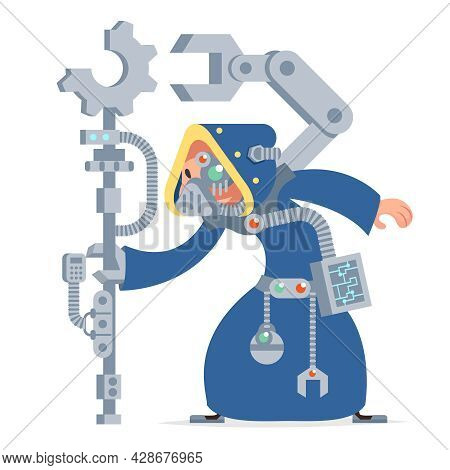 Sci-fi Technology Cybernetic Scientist Technician Engineer Game Rpg Character Vector Icon Illustrati
