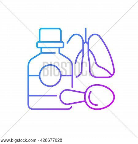 Cough Syrup Gradient Linear Vector Icon. Cold Medicine. Soothing Irritated Throat. Coughing Suppress
