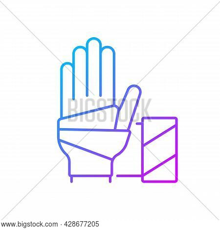 Medical Bandage Gradient Linear Vector Icon. Bandaged Hand. Sterile Wound Dressing. Medical Gauze. S