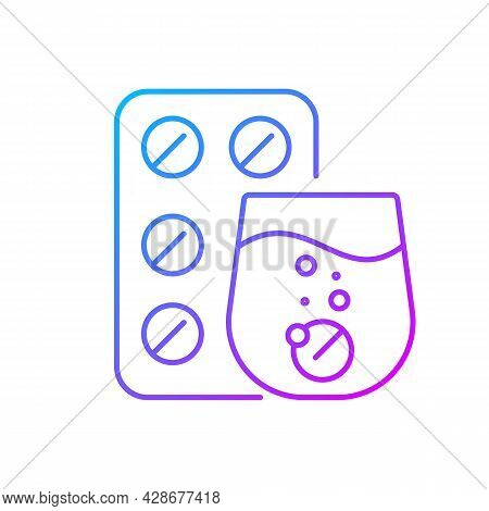 Effervescent Tablet For Cold Relief Gradient Linear Vector Icon. Cough Medication. Relieve Flu Sympt