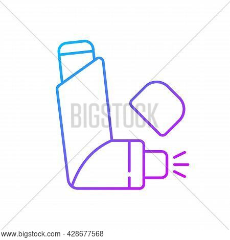 Inhaler Gradient Linear Vector Icon. Preventing Asthma Attacks. Deliver Medication To Lungs, Airways