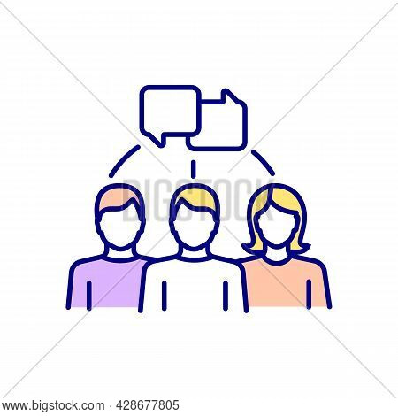 Group Chatting Rgb Color Icon. People Talking. Casual Conversation Between Men And Women. Human Comm