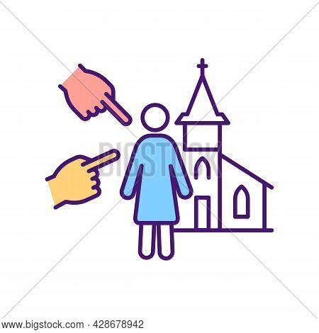 Religious Minority Rgb Color Icon. Vulnerable Group Of People. Religion Representative. Human Trade