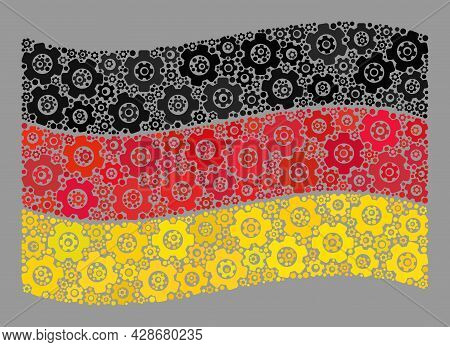 Mosaic Waving Germany Flag Created With Mechanic Elements. Vector Gear Mosaic Waving Germany Flag De