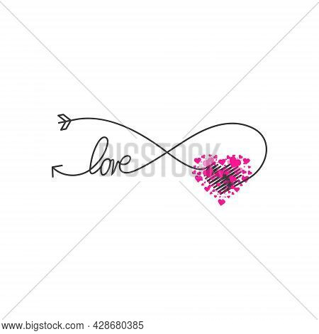Happy Valentines Day Lettering Isolated On White Background Vector Illustration. Letters Hand Drawn