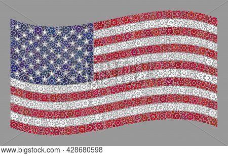 Mosaic Waving Usa Flag Created With Engine Items. Vector Engine Collage Waving Usa Flag Organized Fo