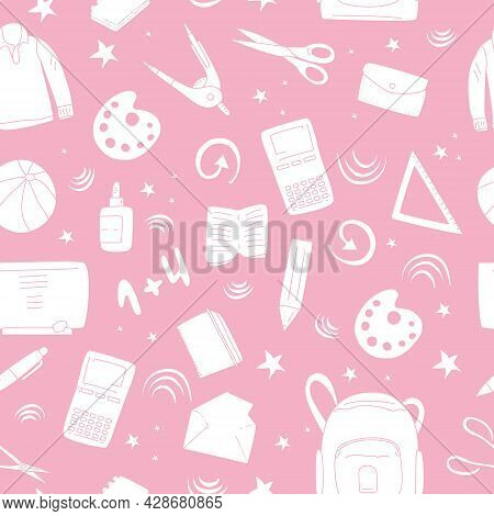 Stationery Seamless Pattern In Hand Drawn Style.back To School Concept With Different Size Diary,ope
