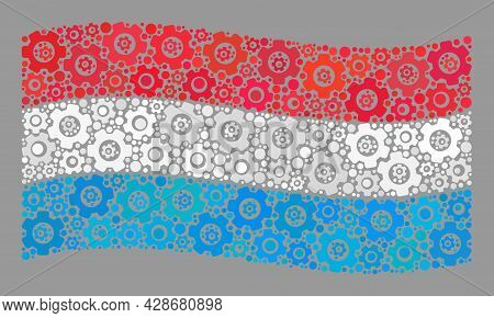 Mosaic Waving Luxembourg Flag Created Of Cog Items. Vector Gear Wheel Collage Waving Luxembourg Flag