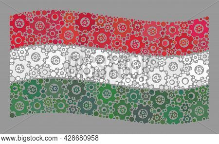 Mosaic Waving Hungary Flag Constructed With Control Elements. Vector Gear Collage Waving Hungary Fla