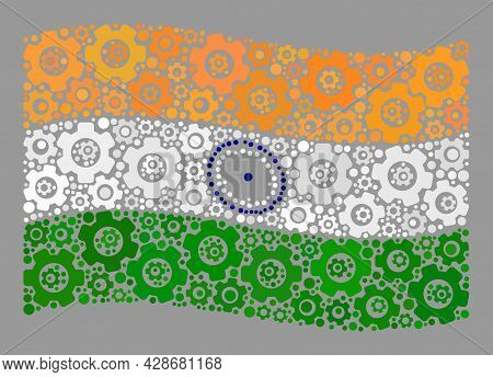 Mosaic Waving India Flag Designed With Cog Icons. Vector Engine Mosaic Waving India Flag Organized F