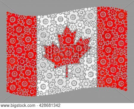 Mosaic Waving Canada Flag Constructed Of Component Items. Vector Gear Collage Waving Canada Flag Des