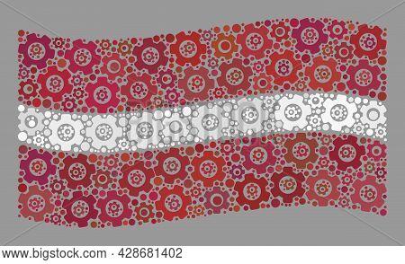 Mosaic Waving Latvia Flag Designed Of Gear Icons. Vector Gear Wheel Collage Waving Latvia Flag Const