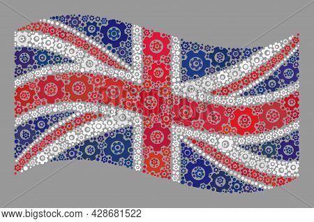Mosaic Waving United Kingdom Flag Created Of Industry Items. Vector Gear Collage Waving United Kingd