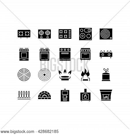 Stove Flat Line Icons Set. Contains Such Icons Burner, Oven, Cooker, Camping Gas, Wood Burning Stove