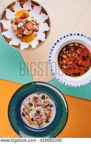 Delicious Food On Colored Background. Lenten Menu. Diet Food. Top View. Free Copy Space.