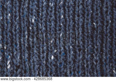 Texture Beautiful Knitted Blue Fabric With Metallic Fibers As Background. Female Hobby Concept. Need