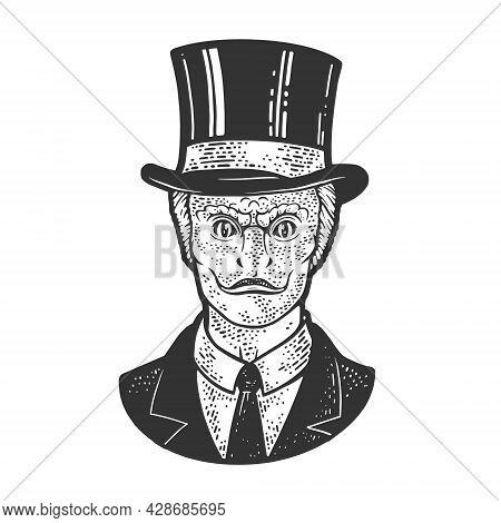 Reptilian Humanoid Businessman Sketch Engraving Vector Illustration. T-shirt Apparel Print Design. S