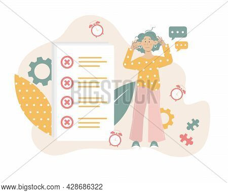 Young Woman Is Not Succeed With Her Tasks And Time Management. Unorganized Person, Procrastinator Pe