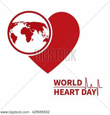 Heart Health Day . An Illustration, Poster Or Banner For The World Heart Day Foundation.a Red Heart